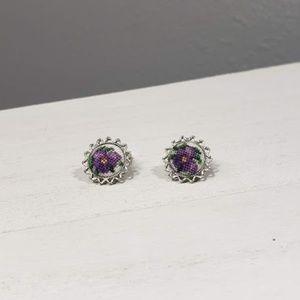 Vintage Petite Embroidered Earrings